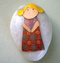 Little Girl with Yellow Hair and Brown Dress  by redbirdcrafts, $8.00