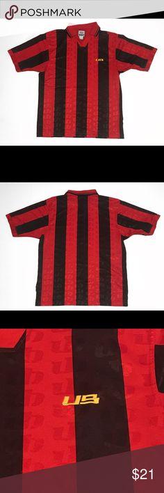 a2dc4f77d Vtg UnionBay Red  amp  Black Soccer Jersey Vintage UnionBay All Over Logo  Soccer Style Red