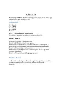 HACCP Plan Template | scope of work template