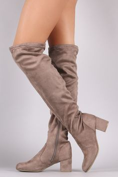 Bamboo Suede OTK Fitted Block Heeled Boots – Bend the Trend Boutique Mid Calf Boots, Thigh High Boots, Over The Knee Boots, Suede Boots, Heeled Boots, Bootie Boots, Women's Boots, Block Heel Boots, Block Heels