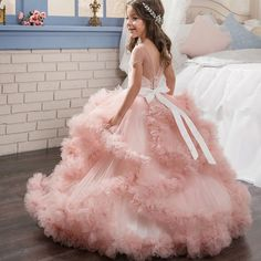 Pink Tulle Ruffle Flower Girls Dresses For Weddings Ball Gown Pageant Dress Floor Length Children First Communion Gowns With Crystal Sash Vegas Dresses, Girls Pageant Dresses, Gowns For Girls, Wedding Dresses For Girls, Little Girl Dresses, Ball Dresses, Ball Gowns, Nice Dresses For Girls, Party Dresses