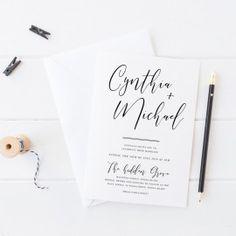 Modern Black and White Wedding Invitation, Handwritten Script Font, White Ink Printing, Peach Perfect Australia