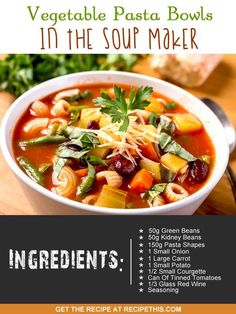 Recipe This   40 Soup Maker Recipes To Cook In The Soup Machine Lunch Recipes, Paleo Recipes, Appetizer Recipes, Soup Recipes, Cooking Recipes, Vegetable Pasta, Vegetable Recipes, Morphy Richards Soup Maker, Ramen