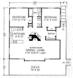 Contemporary Style House Plan - 2 Beds 1 Baths 980 Sq/Ft Plan #302-212 Floor Plan - Main Floor Plan - Houseplans.com