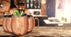 Share some cheer with these trendy copper-plated mule mugs - 4 for just $19.98!