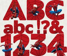 These Alphabet & Number sets are firm favorites with my customers. Spiderman Font, Spiderman Cake Topper, Printable Numbers, Printable Letters, Superman Birthday Party, 3rd Birthday, Fourth Of July Crafts For Kids, School Scrapbook Layouts, Rag Quilt Patterns