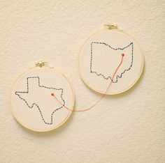 Customized State Embroidery Hoop Art- Going Away Present, Long Distance Relationship/Friend/Family.