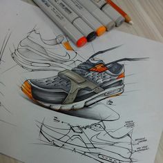 This designer did a fine job of making the image look as if it were in action. The shape of the shoe with the help of the shadow beneath it, help to indicate that the heel is risen off the ground, while the fades out laces indicate movement. Very good design technique for someone attempting to sell an athletic shoe.