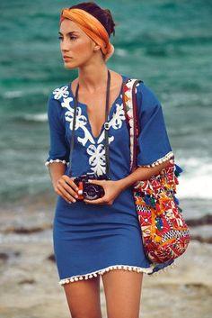 @roressclothes clothing ideas  #women fashion  blue little beach dress