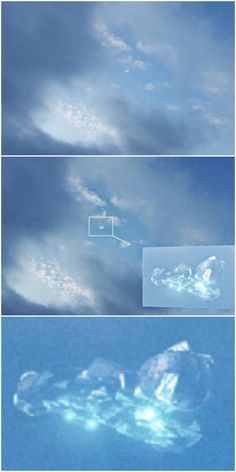 Crystalline UFO, morphing in and out of the clouds                                                                                                                                                      More