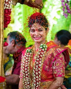 Weddings are always fun! Get your blouses customised from Team Teja.Walk-in to our store and we would be more than… Romantic Couples, Wedding Couples, Wedding Bride, Flower Garland Wedding, Flower Garlands, Bridal Photography, Couple Photography, Beautiful Indian Brides, Bridal Photoshoot