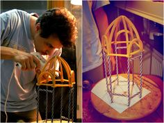Making part of the sculpture using wax, straws and sellotape