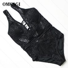 OMKAGI Women Black & White One Piece Swimsuits Handmade Solid Crochet Swimwear Deep V Backless Monokini Swimsuits Bathing Suits(China)
