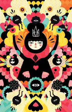 Colourful characters are an explosion of colours in fantastical, symmetrical worlds: http://www.creativebloq.com/illustration/colourful-characters-play-symmetry-7133464