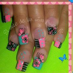 Mobile Nails, Nail Art Designs Videos, Butterfly Nail Art, Pedicure Nail Art, French Tip Nails, Cute Nail Art, Hot Nails, Beautiful Nail Designs, Fancy Nails