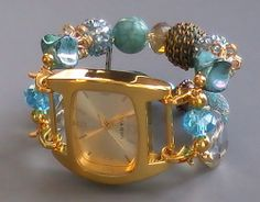 Turquoise Blue and Gold Interchangeable Watch, Stretchy, Beaded | sassylu - Jewelry on ArtFire