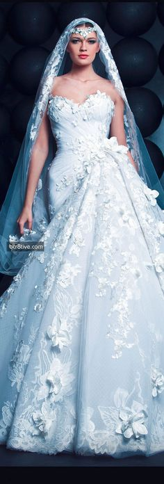 Princess Wedding Gown / Nicolas Jebran..This is So Stunning..luv the Jeweled Headpiece & Veil!