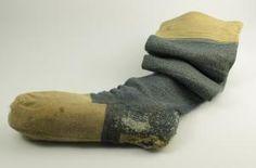 Blue knitted sock with initials 'R B', belonging to Robert B... - Robert Burns Birthplace Museum