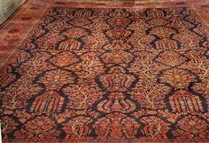 Nejad 12' × 15' Authentic Persian KASHAN  Hand-Knotted Wool Area Rug - Navy / Rose