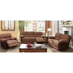 Furniture of America Dark 3-piece Fabric Loveseat/ Recliner/ Sofa Set