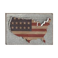 Galvanized Backed American Flag Us Map Wall Sculpture 42584