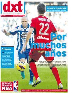 Diario dxt, colores rojo, azul cyan y blanco.