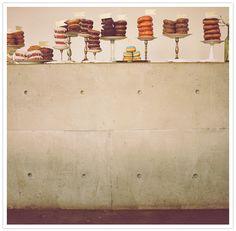 display of donut stacks