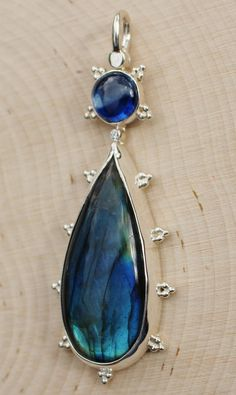 Purple /& Blue Labradorite 925 Sterling Silver pear teardrop Pendant P0117