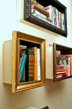 Kreatives Bücherregal aus Bilderrahmen #books #shelves #diy #upcycle