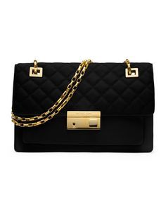Michael Kors Gia Quilted-Top Flap Shoulder Bag.