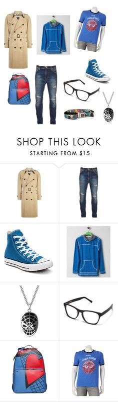 """""""Chris oc"""" by creepypasta1102 ❤ liked on Polyvore featuring Burberry, Nudie Jeans Co., Converse, BKE Vintage, Valentino, Marvel, men's fashion and menswear"""