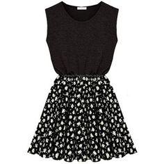 ZLYC Women Girls Sleeveless Casual Jersey Skater Dress with Contrast Floral Skirt