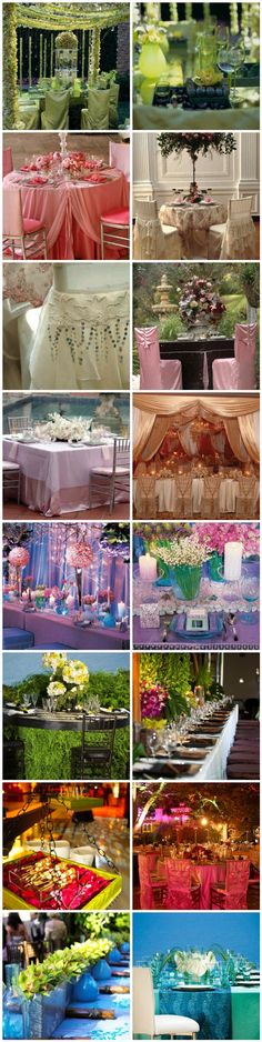 Table ideas for events... beautiful all around,  love the colors,  style,  flowers & chair covers