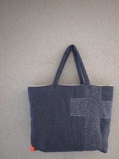 stitched bag, 布と刺し子のコラージュバッグ