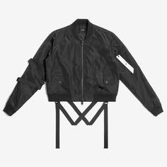 CROPPED STRAPPED BOMBER JACKET