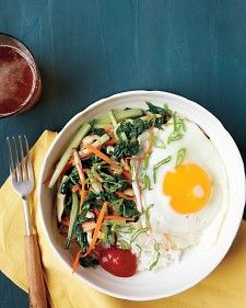 This Korean-style dish stars mixed vegetables and a sunny-side-up egg. Our simplified version is great for any night.