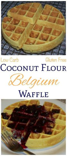 These delicious low carb coconut flour Belgian waffles are very close to the rea. - These delicious low carb coconut flour Belgian waffles are very close to the real thing and they are gluten free. Just mix up the ingredients in a ble. Banting Recipes, Gluten Free Recipes, Low Carb Recipes, Healthy Recipes, Pescatarian Recipes, Whole30 Recipes, Healthy Meals, Keto Desert Recipes, Candida Recipes