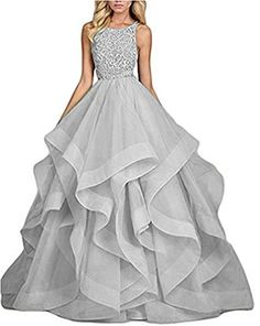 Women's Beaded Asymmetric Long Prom Dresses Formal Evening Party Gowns Grey 6