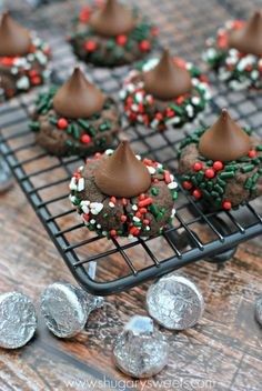Chocolate Kiss Sprinkles Cookies Recipe ~ Delicious, chewy chocolate cookies rolled in holiday sprinkles and topped with a Hershey's Kisses Chocolate candy.