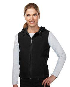 Women's Fleece Fully Placket Sleeveless Hooded Jacket (100% Polyester). Tri mountain 7023 #black #vest