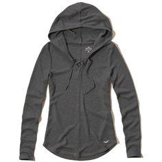 Hollister Must-Have Lace-Up Waffle Hoodie ($20) ❤ liked on Polyvore featuring tops, hoodies, dark grey, long sleeve tops, long sleeve hoodies, slim fit hooded sweatshirt, slim fit hoodies and lace-up tops