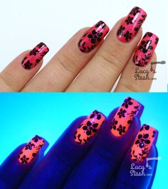 Floral Stamping Nailart over Glam Polish Rosetta