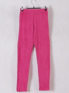 Women Euro Style Slim Candy Color Rose Pencil Pants Faux Suede One Size@WH0116ro