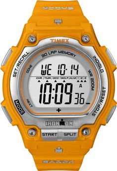 Men's Wrist Watches - Timex Mens T5K585 Ironman Traditional Shock Steel 30Lap Orange Resin Strap Watch ** Learn more by visiting the image link.