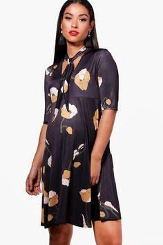 ec26eff2b4 boohoo Maternity Lianne Floral Tie Neck Swing Dress Boohoo Maternity