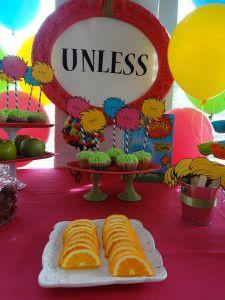 healthy party snacks - healthy birthday food  - the lorax birthday theme - the lorax party - lorax cake - dr seuss birthday