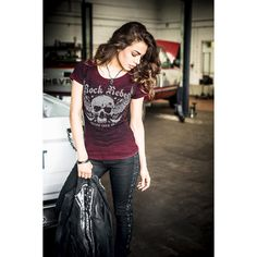"T-Shirt, Donna ""Lace Wing Shirt"" bordeaux della collezione #RockRebelbyEMP."