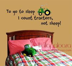 To go to sleep I count Tractors wall decal - tractor wall decal - farm wall decal - tractor on Etsy, $31.80