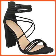 Fashion Thirsty Womens Strappy Block High Heel Peep Toe Chunky Evening Shoes Size 5 - Sandals for women (*Amazon Partner-Link)