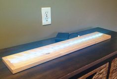 "Rustic 24"" LED Bottle Shelf, Home Decor, Glass Scuplture Display Fixture"